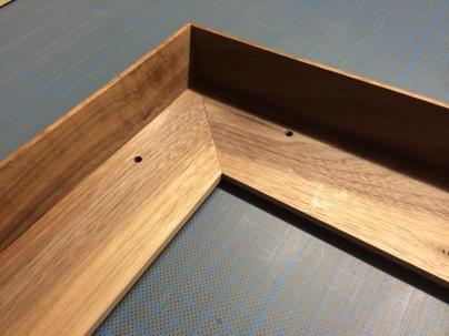 Detail of a Walnut Tray Frame